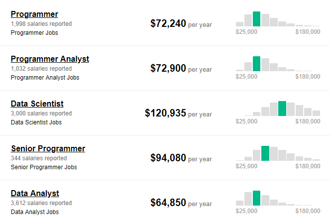 average salary of r programmers