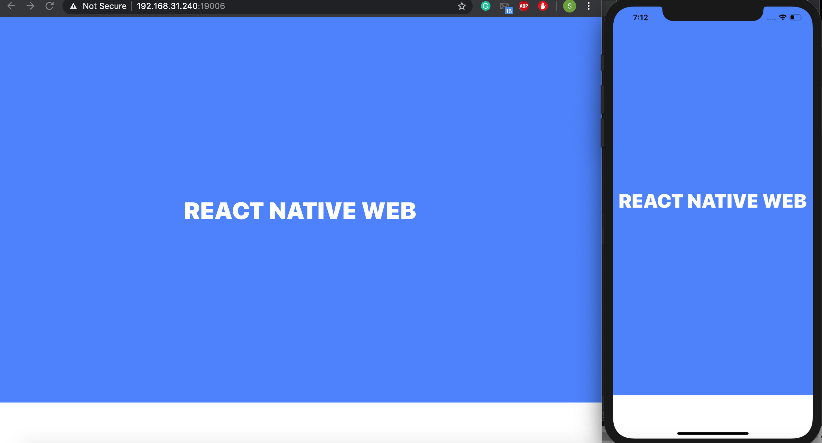 React native web using expo